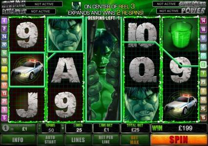 expanding hulk triggers 199 credit jackpot