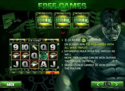 3 or more incredible hulk symbols anywhere on screen wins 10 free games