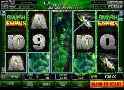 smash bonus triggered on reels 1 and 5