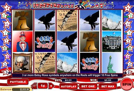Red Stag featuring the Video Slots Independence Day with a maximum payout of $100,000