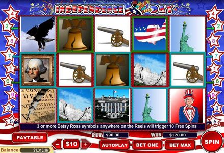 Play slots at Liberty Slots: Liberty Slots featuring the Video Slots Independence Day with a maximum payout of $100,000