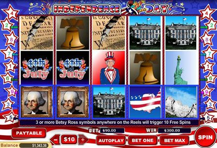 Miami Club featuring the Video Slots Independence Day with a maximum payout of $100,000