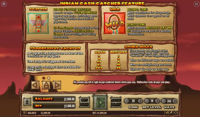 21 Dukes featuring the Video Slots Indian Cash Catcher with a maximum payout of $2,500,000