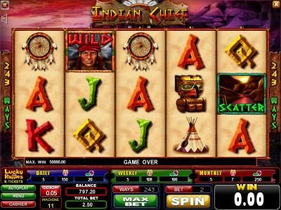 Casinoval featuring the Video Slots Indian Chief with a maximum payout of $1,250