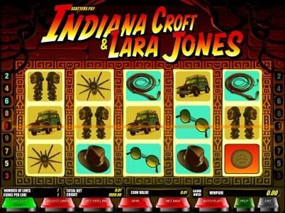 Indiana Croft & Lara Jones :: main game board featuring five reels and nine paylines