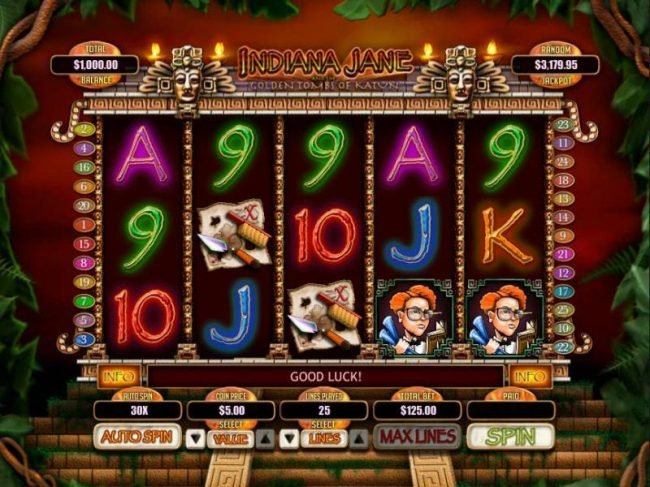 Play slots at Slotastic: Slotastic featuring the Video Slots Indiana Jane and the Golden Toms of Katun with a maximum payout of $250,000