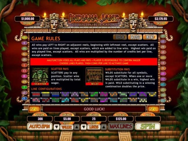 Manhattan Slots featuring the Video Slots Indiana Jane and the Golden Toms of Katun with a maximum payout of $250,000
