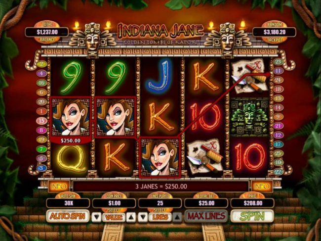 Uptown Aces featuring the Video Slots Indiana Jane and the Golden Toms of Katun with a maximum payout of $250,000