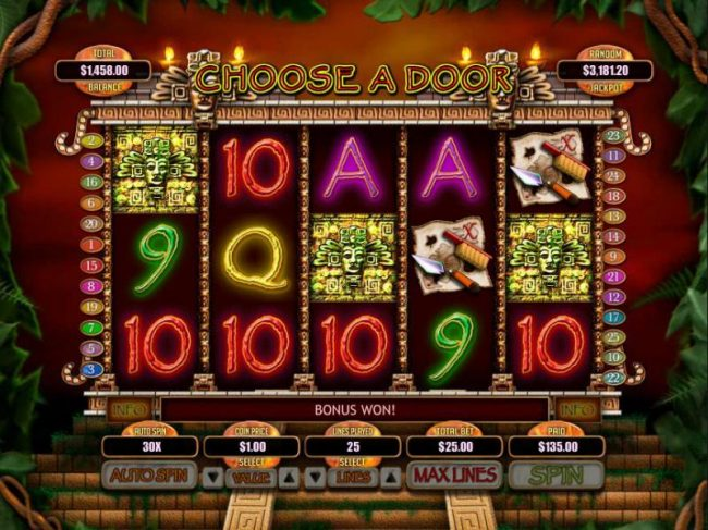 Raging Bull featuring the Video Slots Indiana Jane and the Golden Toms of Katun with a maximum payout of $250,000