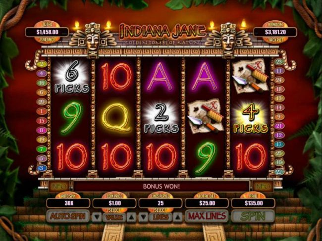Casino Brango featuring the Video Slots Indiana Jane and the Golden Toms of Katun with a maximum payout of $250,000