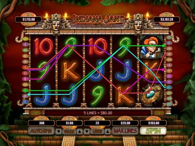 Mega 7's featuring the Video Slots Indiana Jane and the Golden Toms of Katun with a maximum payout of $250,000