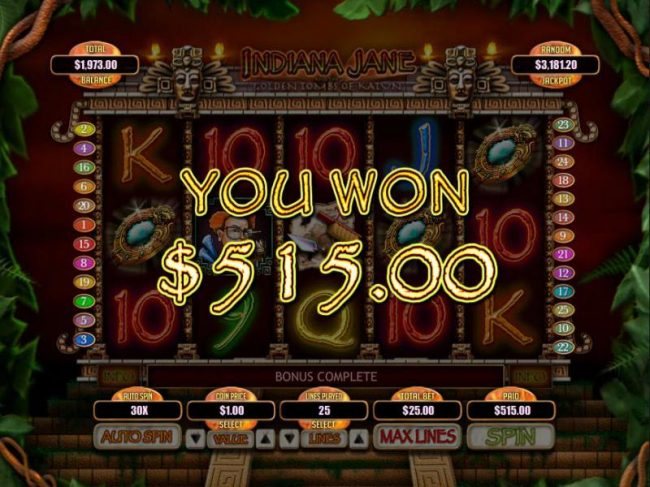 The Secret Tomb Bonus feature pays out a total jackpot of 515.00 for a big win.