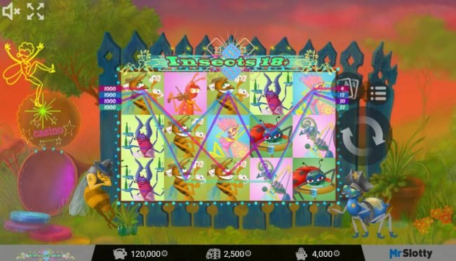 Split Aces featuring the Video Slots Insects 18+ with a maximum payout of $200,000