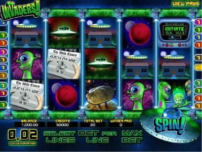 Slots Jackpot featuring the Video Slots Invaders with a maximum payout of $25,000
