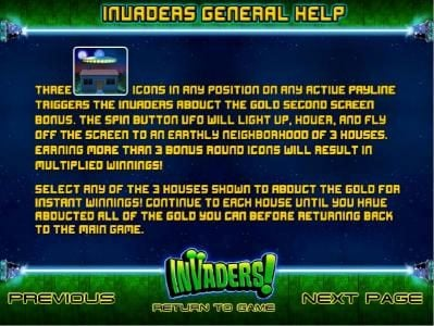 invaders abduct gold feature rules