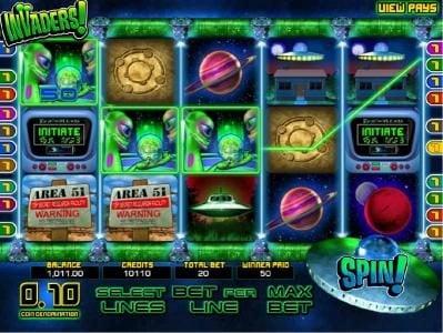 Come On featuring the Video Slots Invaders with a maximum payout of $25,000