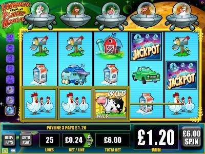 Wicked Jackpots featuring the Video Slots Invaders from the Planet Moolah with a maximum payout of $3,750