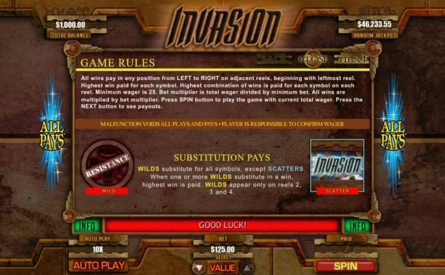 Mega 7's featuring the Video Slots Invasion with a maximum payout of Jackpot
