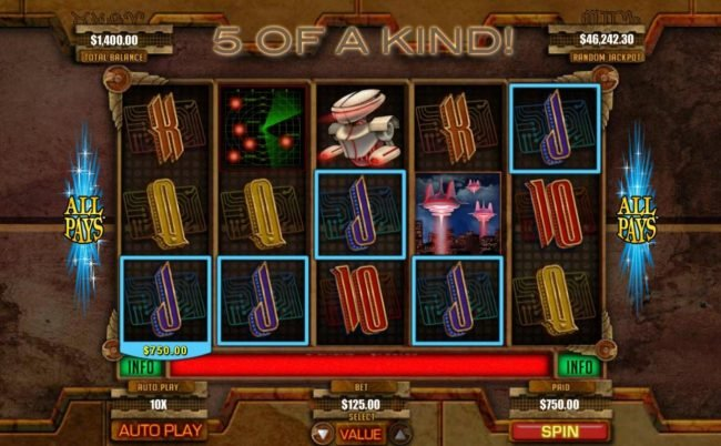 Slots Empire featuring the Video Slots Invasion with a maximum payout of Jackpot