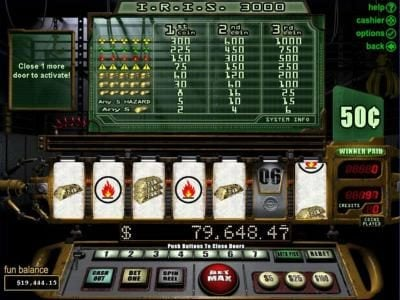 Slotastic featuring the Video Slots I.R.I.S. 3000 with a maximum payout of Jackpot
