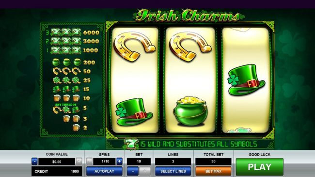 Play slots at Casino States: Casino States featuring the Video Slots Irish Charms with a maximum payout of $35,000