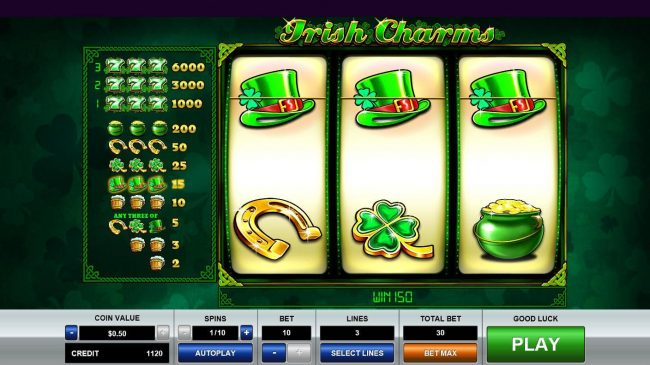 Slots Village featuring the Video Slots Irish Charms with a maximum payout of $35,000