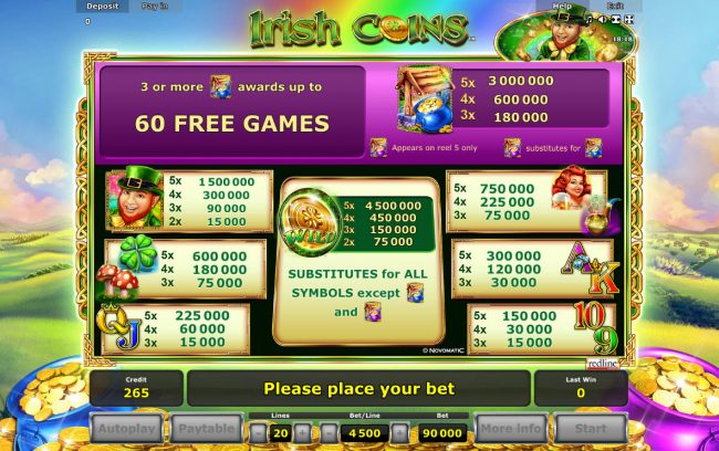 My Bet featuring the Video Slots Irish Coins with a maximum payout of $4,500,000