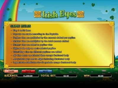Noxwin featuring the Video Slots Irish Eyes with a maximum payout of $20,000