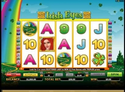 Zodiac featuring the Video Slots Irish Eyes with a maximum payout of $20,000
