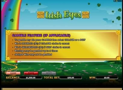 Oshi featuring the Video Slots Irish Eyes with a maximum payout of $20,000