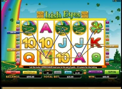 Vegas Paradice featuring the Video Slots Irish Eyes with a maximum payout of $20,000