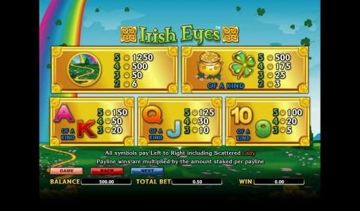Casino Superlines featuring the Video Slots Irish Eyes with a maximum payout of 10000x