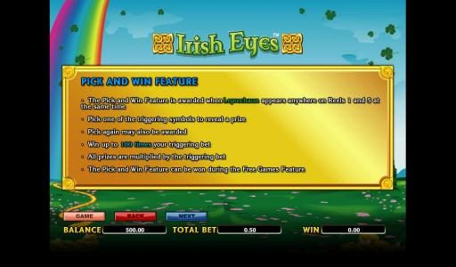 Sin Spins featuring the Video Slots Irish Eyes with a maximum payout of 10000x