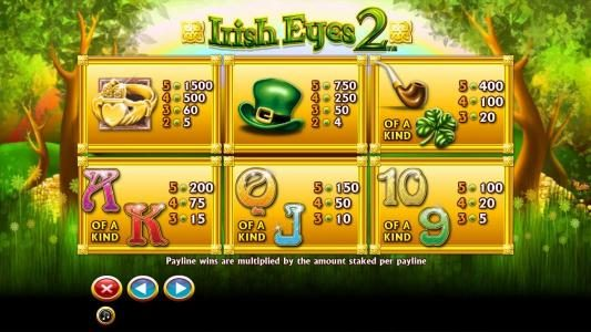 Enzo Casino featuring the Video Slots Irish Eyes 2 with a maximum payout of $10,000