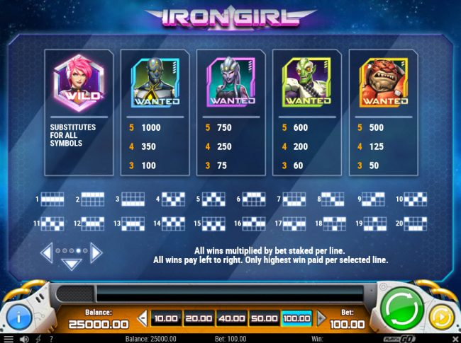 Play 24 Bet featuring the Video Slots Iron Girl with a maximum payout of $25,000