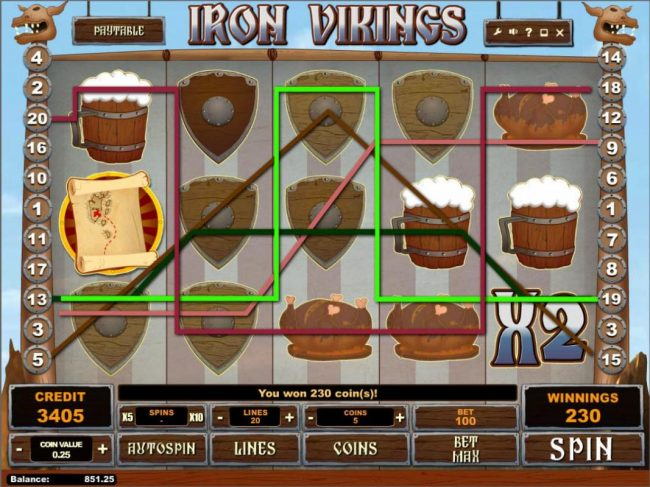 7Bit featuring the Video Slots Iron Vikings with a maximum payout of $250,000