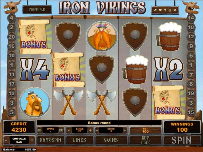 7 Gods Casino featuring the Video Slots Iron Vikings with a maximum payout of $250,000