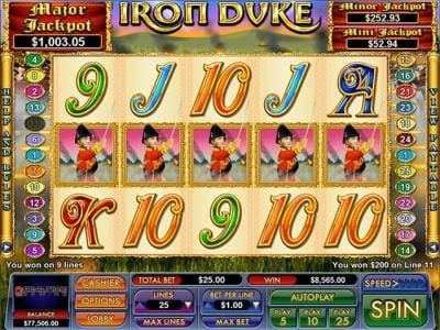 Play slots at Slot Madness: Slot Madness featuring the Video Slots Iron Duke with a maximum payout of $7,500