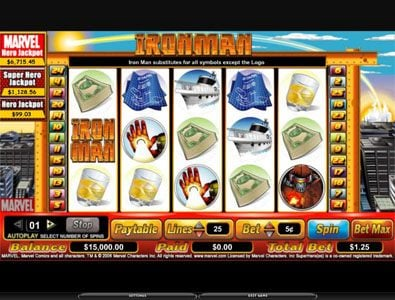 Casino Superlines featuring the video-Slots Iron Man with a maximum payout of 6,000x