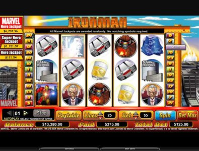 Hyper Casino featuring the video-Slots Iron Man with a maximum payout of 6,000x