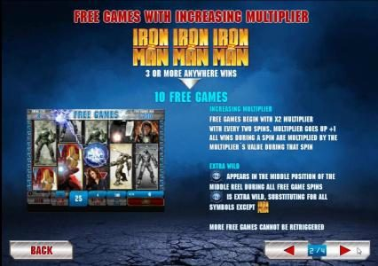 free games with increasing multiplier. three or more iron man 2 symbols anywhere wins 10 free games