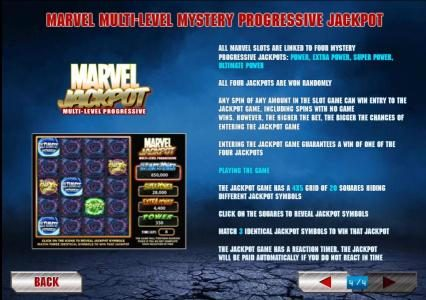 all marvel slots are linked to four mystery progressive jackpots. all four jackpots are won randomly
