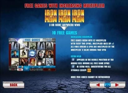Iron Man 2 - 50 Lines :: Free games with increasing multiplier with three or more scatter wins