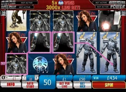 Iron Man 2 - 50 Lines :: wild symbol boosts jackpot to 434 coins payout