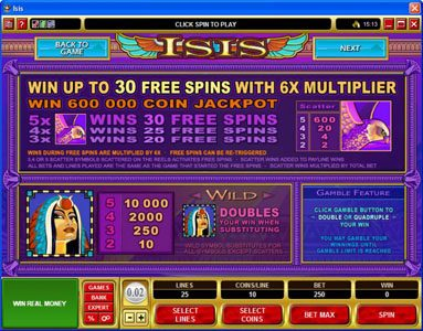 Ruby Fortune featuring the Video Slots Isis with a maximum payout of $25,000