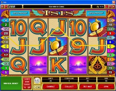 Dream Vegas featuring the Video Slots Isis with a maximum payout of $25,000