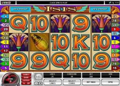 Platinum Play featuring the Video Slots Isis Multi-Player slot with a maximum payout of $50,000