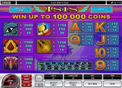 Playamo featuring the Video Slots Isis Multi-Player slot with a maximum payout of $50,000