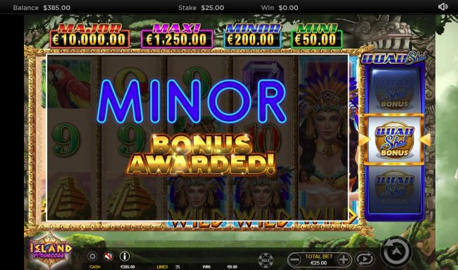 Boo Casino featuring the Video Slots Island Princess Quad Shot with a maximum payout of $25,000
