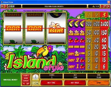 Vegas Paradice featuring the Video Slots Island Style with a maximum payout of $36,000
